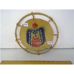 """""""Thunderbird"""" Painting on Leather Stretched on Hoop - 10"""" Diameter"""