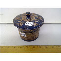 "Carved, Lidded Wood Jar by Artist Hugo Saldivar - Diameter 5"""