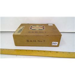 "3/8"" Pine Plank '5 Cent' B&H No. 7 Wood Cigar Box - 8 1/2"" Wide - 1930"