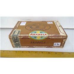 "3/8"" Pine Plank '5 Cent' 'Arabela' Wood Cigar Box - 8 1/2"" Wide - 1930"