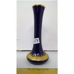 """Cobalt Blue Porcelain Limoges France Vase - Height: 8"""""""