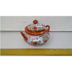 """Fine Old Painted White Porcelain Lidded Container - Height 4"""""""