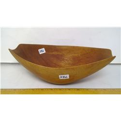"""1950 Danish Teak Sculptural Bowl (So Thin Yet Carved From One Block) - 13"""" Length"""