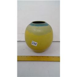 """1970 by 'WMS' Handmade Pottery Vase - 6 1/2"""" Height - Yellow Azure"""