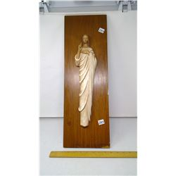 """1963 Jesus Figure on Walnut Wood Panel - 24""""x8"""""""