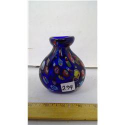 "1950 Venice Murano Thousand Flowers Cobalt Handblown 3/8"" Thick Walled Vase"