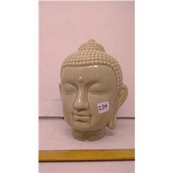 """Jade Celadon Pottery Buddha Head - 7"""" Crackle Glaze"""