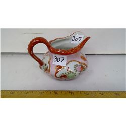 Porcelain Teapot, Aide Creamer, Painted, Gilt Height 4""