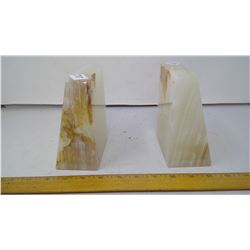 Highest A Grade Onyx Stone Slab Bookends (2) Pair - Height 6""