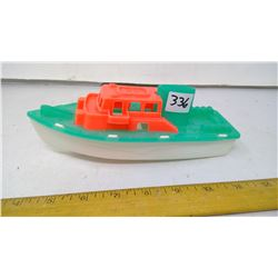 "1960 Collector's Azure Magenta Plastic Toy Ship - 8"" Length"