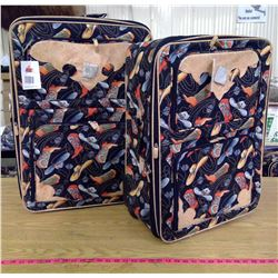 Cowboy Boot Motif Medium and Large Suitcases
