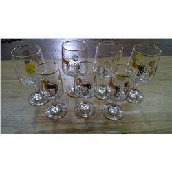 7 Small Glasses with Greek/Roman Artwork