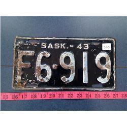 Rare Stubby Saskatchewan 1943 License Plate