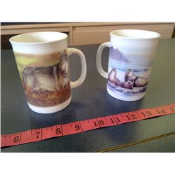 Canadian Geographic - Coffee Mugs- Endangered Species - Grey Wolf and Harbour Seal. N.O.S.