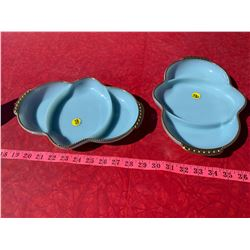 FireKing Baby Blue Serving Trays - Made in USA