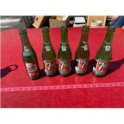 Green Glass 7-Up Bottles x5