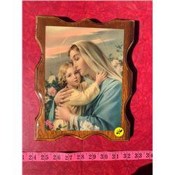 Wooden Picture of Virgin Mary and Child