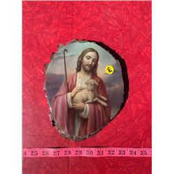 Wooden Picture of Christ w/ Lamb