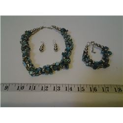 Turquoise Coloured Necklace, Bracelet, and Earrings