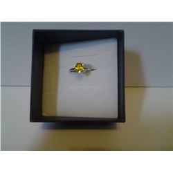 Yellow Simulated Sapphire Ring in Sterling Silver - Size 7