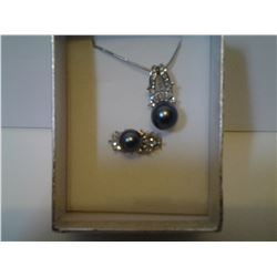 Blue Oyster Pearl Necklace with Matching Ring