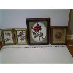 4 Vintage Flower Pictures