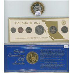 BC 1971 Centennial Coin Set, 1975 Oil Sands Medallion, and Elko Nevada Gaming Token (.999 Silver)