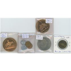 Luxembourg Token, 1965 One Crown Churchill, 4 Coins (Mexico 1953, Peru 1960, 1961, and India 1962),