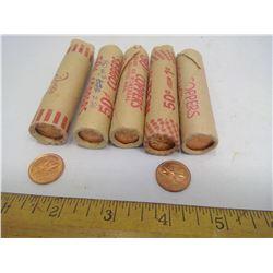 Roll of 1967 UNC Pennies, Roll of 1968 UNC Pennies, Roll of 1969 UNC Pennies, Roll of 1970 UNC Penni
