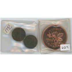 "1943 Pin, 1965 Sudbury, Canada ""The Pig Penny"""