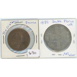1889 Double Florin .925 Silver, 1856 France 10 Centimes Coin