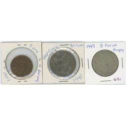 1907 Norway 5 ORE, 1941 British Half Crown, 1947 Hungary 5 Forint