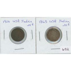 1863 Indian 1 Cent USA, 1900 USA 1 Cent