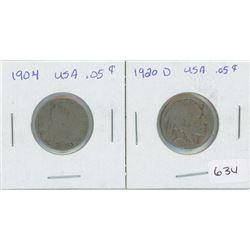1904 USA 5 Cents, 1920 USA 5 Cent Buffalo