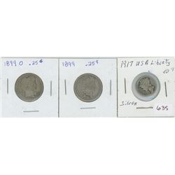 1917 USA Silver 10 Cents,2- 1899 USA Silver 25 Cents