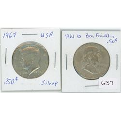 1961 USA Silver 50 Cents, 1967 USA Silver 50 Cents