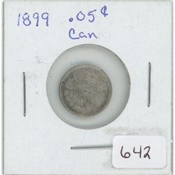 1899 Silver Canadian 5 Cents