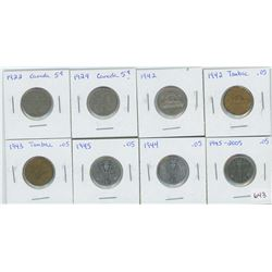 8- Canadian 5 Cents 1922, 1924, 1942, 1942 Tombac, 1943 Tombac, 1944, 1945, 2005