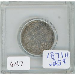 1871H 25 Cents Canadian Silver