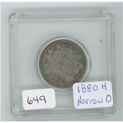 1880H 25 Cents Canadian Silver