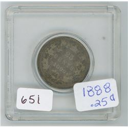 1888 25 Cents Canadian Silver