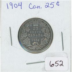 1904 25 Cents Canadian Silver