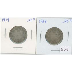 1918 25 Cents Canadian Silver, 1919 25 Cents Canadian Silver