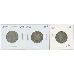 1929 25 Cents Canadian Silver, 1936 25 Cents Canadian Silver, 1938 25 Cents Canadian Silver