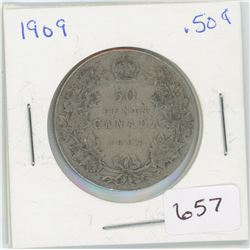 1909 50 Cents Canadian Silver
