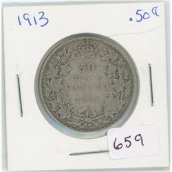 1913 50 Cents Canadian Silver