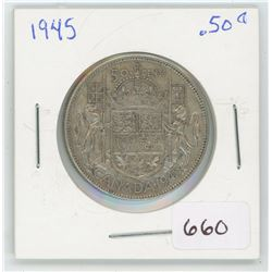 1945 50 Cents Canadian Silver