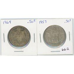 1957 50 Cents Canadian Silver, 1964 50 Cents Canadian Silver