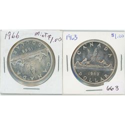 1963 $1 Canadian Silver, 1966 $1 Canadian Silver