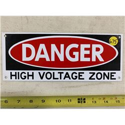 """Small Metal """"Danger High Voltage Zone"""" Sign"""